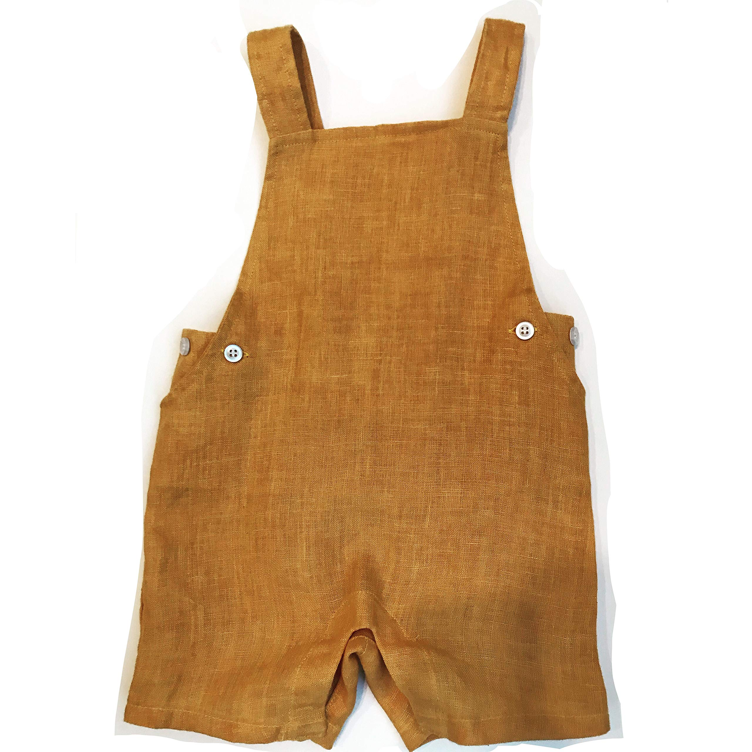 Loliuicca Toddler Kids Cotton Linen Jumpsuit Knotted Playsuit Solid Overalls with Pocket