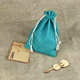 vLoveLife Teal Blue Burlap Candy Bags Jute Wedding