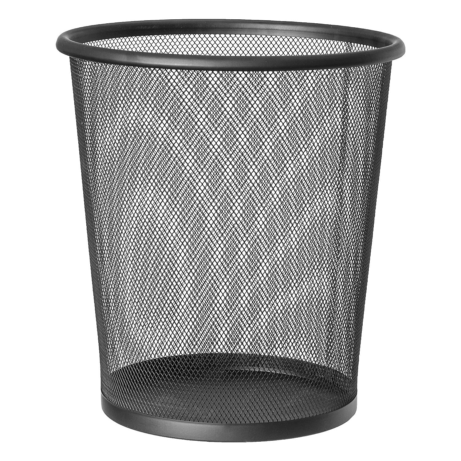 ArtMoon Mesh Round Waste Basket for Home or Office, Wire Mesh Trash Can, Made of Powder-Coated Steel, Capacity of 3.2 Gallon (12L), Black