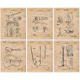 Vintage Fender Guitars Patent Poster Prints, Set of 6 (8x10) Unframed Photos, Great Wall Art Decor Gifts Under 20 for Home, O