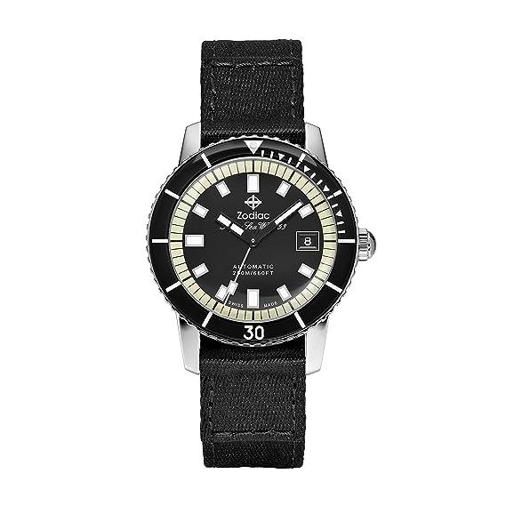 Zodiac Super Seawolf de los hombres automático suizo y lienzo Casual reloj de acero inoxidable