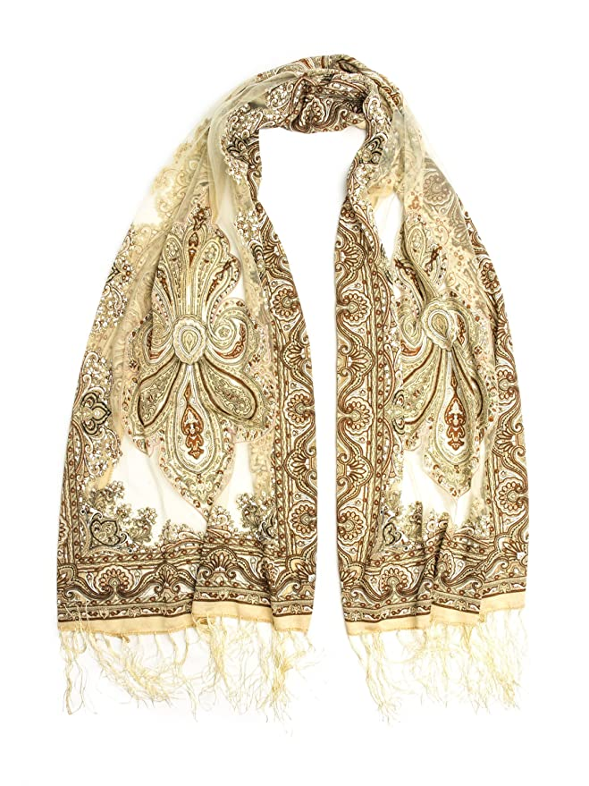 1920s Style Wraps Fringed Sheer Burnout Fleur de Lis Scarf $13.95 AT vintagedancer.com