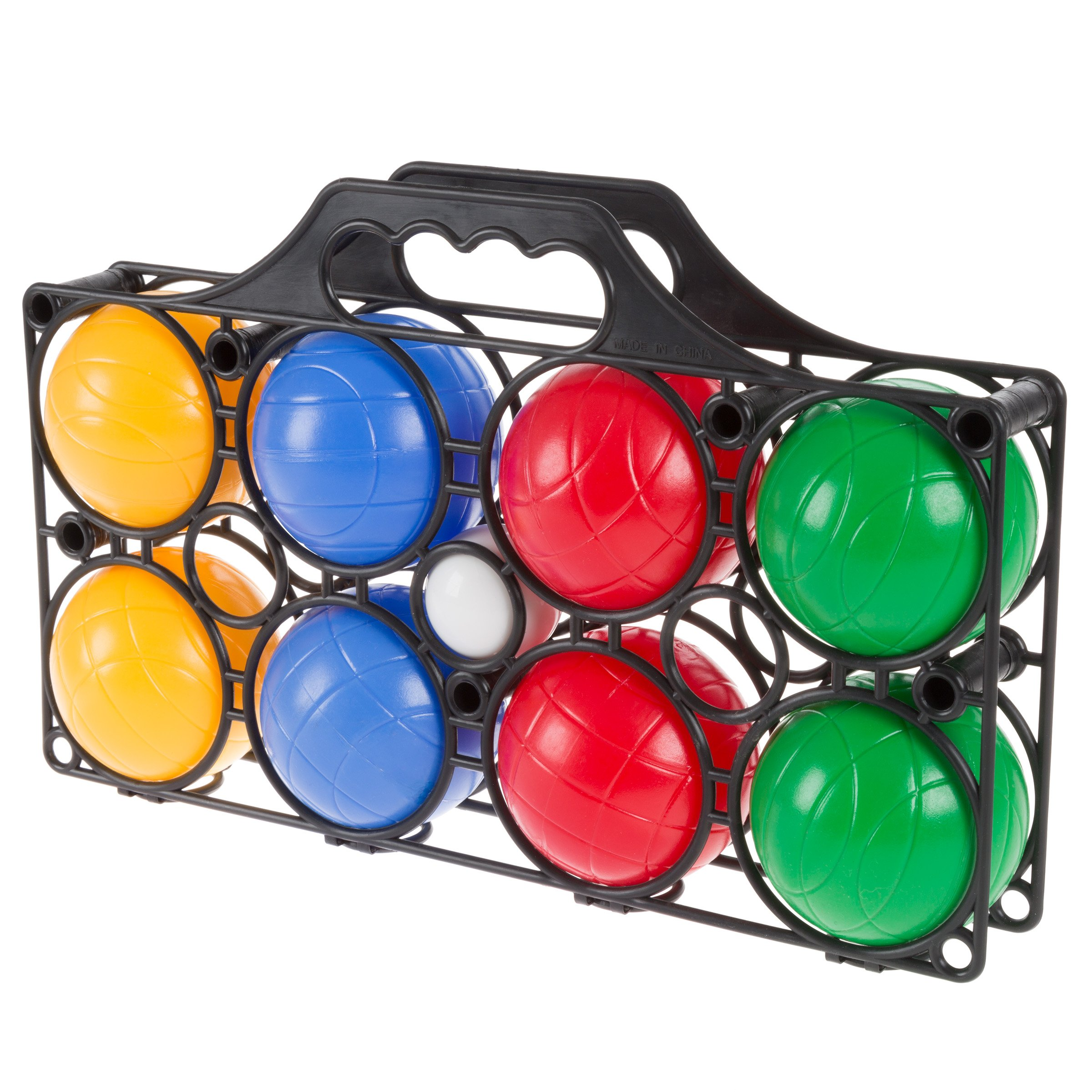 Hey!Play!! Beginner Bocce Ball Set with 8 Colorful Bocce Balls, Pallino and Carrying Case- Classic Outdoor Game for Kids, Adults and Family by Hey!Play!