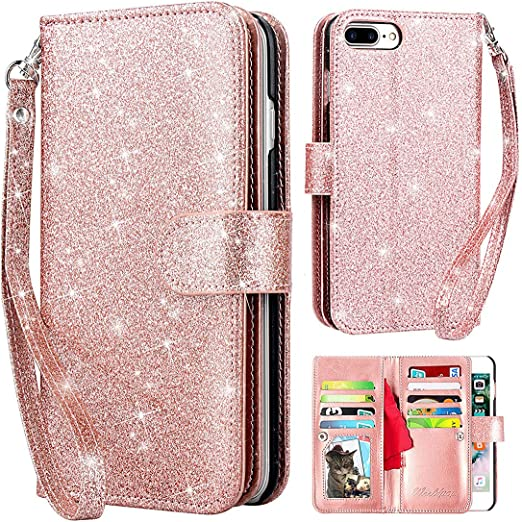 Dailylux iPhone 8 Plus Case,iPhone 7 Plus Case iPhone 7 Plus Wallet Case PU Leather+TPU inner shell Flip Case With 9 Card Slot Luxury Bling Cover for iPhone 8 Plus//7 Plus 5.5inch-Glitter Rose Gold