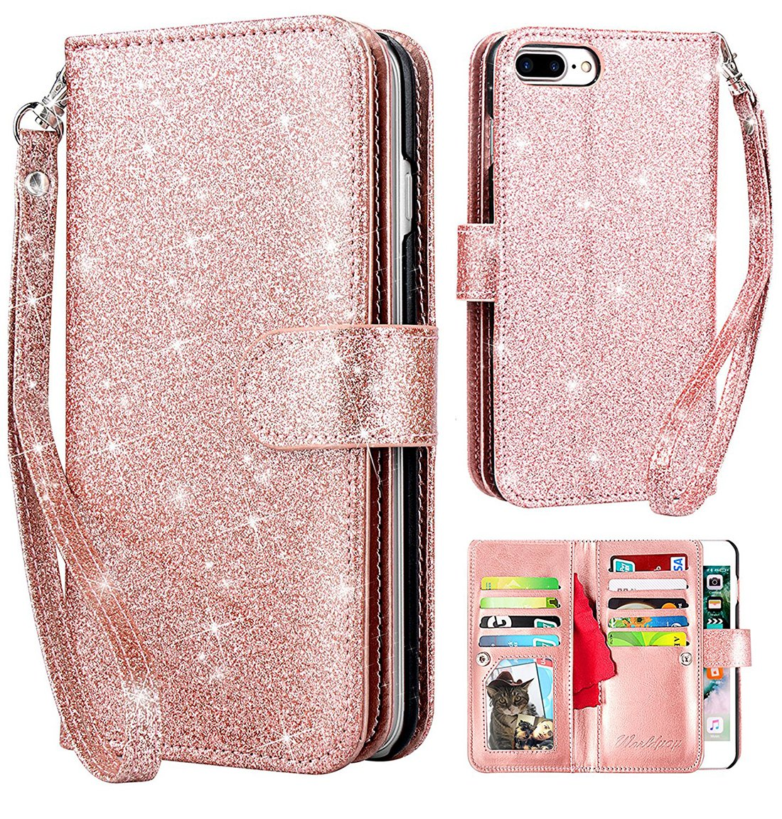 iphone 7 glitter wallet case