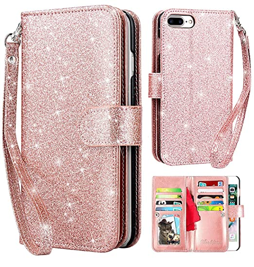 Iphone 8 Plus Wallet Case Iphone 7 Plus Wallet Case Worldmom Glitter Shiny Bling Credit Cash Slot Folio Style Holder Magnetic Closure Leather Wallet