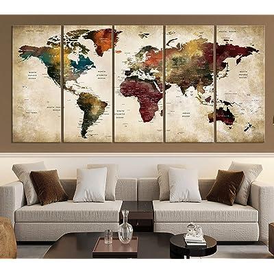 Single Panel Large World Map,World Map Wall Art,Large World Map,World Map Canvas,Push Pin Map Canvas,World Map Art,World Map Print,Map Art