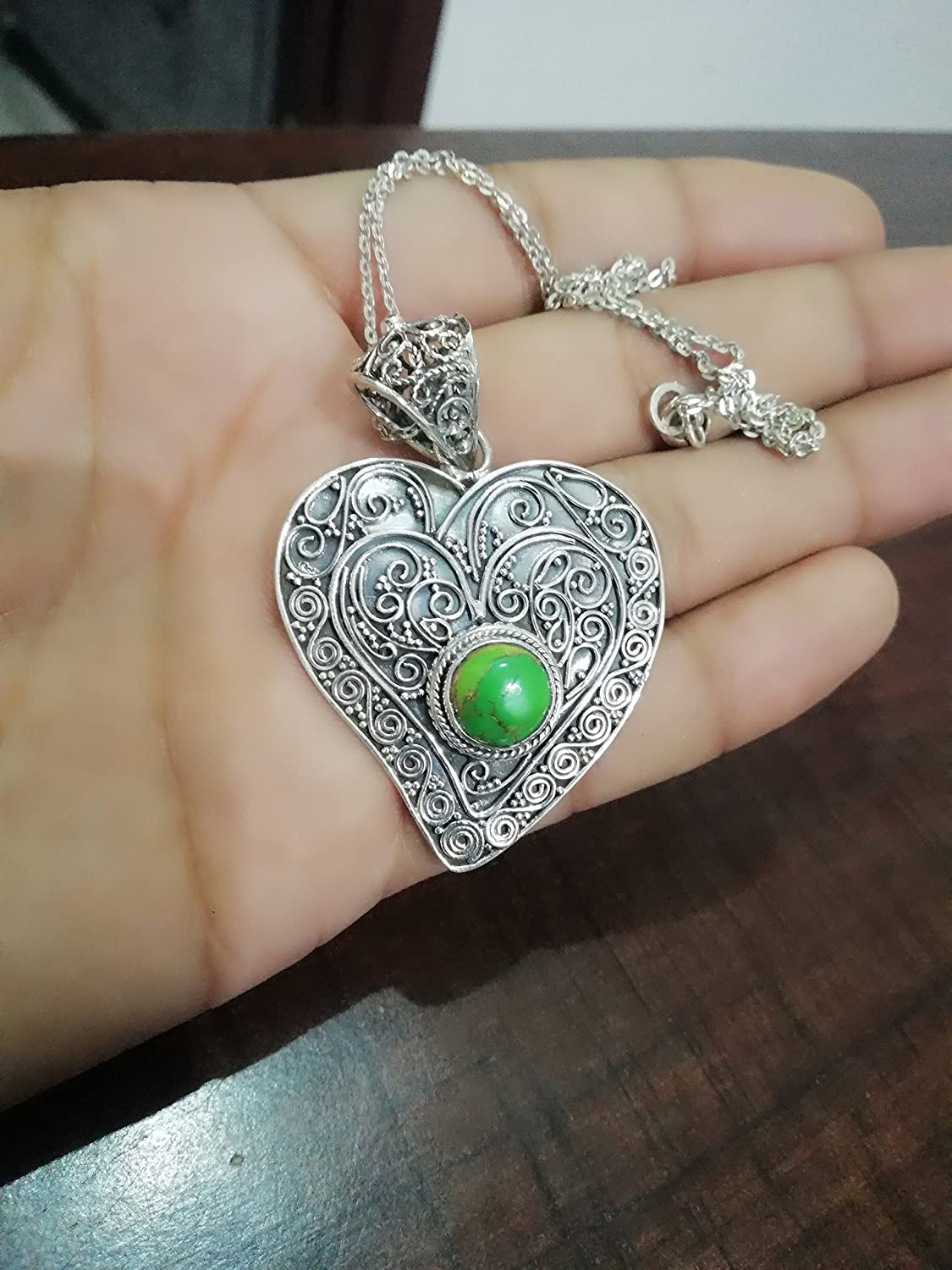 Green Turquoise Necklaces, 925 Sterling Silver Necklaces, Heart Shape Antique Necklaces, Artisan Necklaces, Boho Necklaces, December Birthstone, 11th Anniversary Necklaces, Elegant Necklaces, Mermaid Gift, Wedding Necklaces, Vintage Necklaces