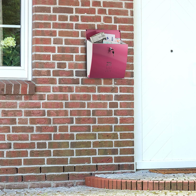con Serratura HxLxP: 33,5 x 35 x 10 cm Azzurra Relaxdays Cassetta Postale Posta Lettere Diversi Colori Formato A4 Moderna Parete
