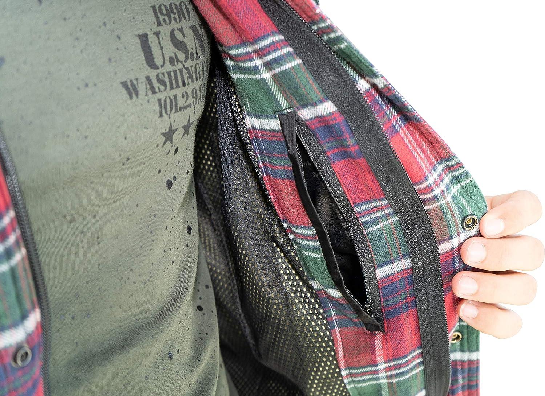 Camicia Protettiva da Moto in Design Nero Bianco Camicia Protettiva con Fodera in aramide e Tasche protettive Look da Boscaiolo Brubaker Giacca da Moto