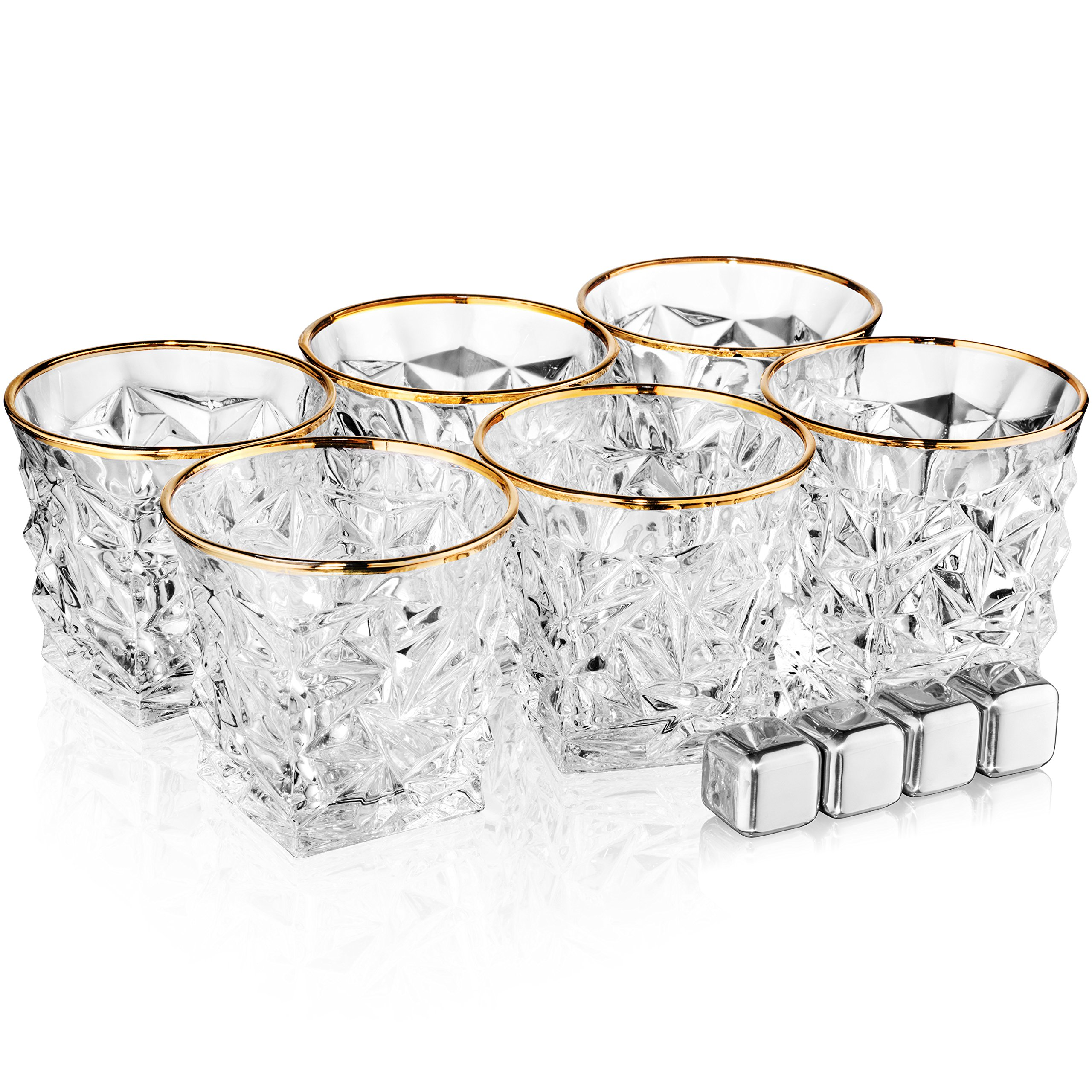 Posh Five Whiskey Glasses Set of 6 Diamond Scotch Glasses + 4 Stainless Steel Whiskey Stones by Posh Five Trading Co (Image #4)