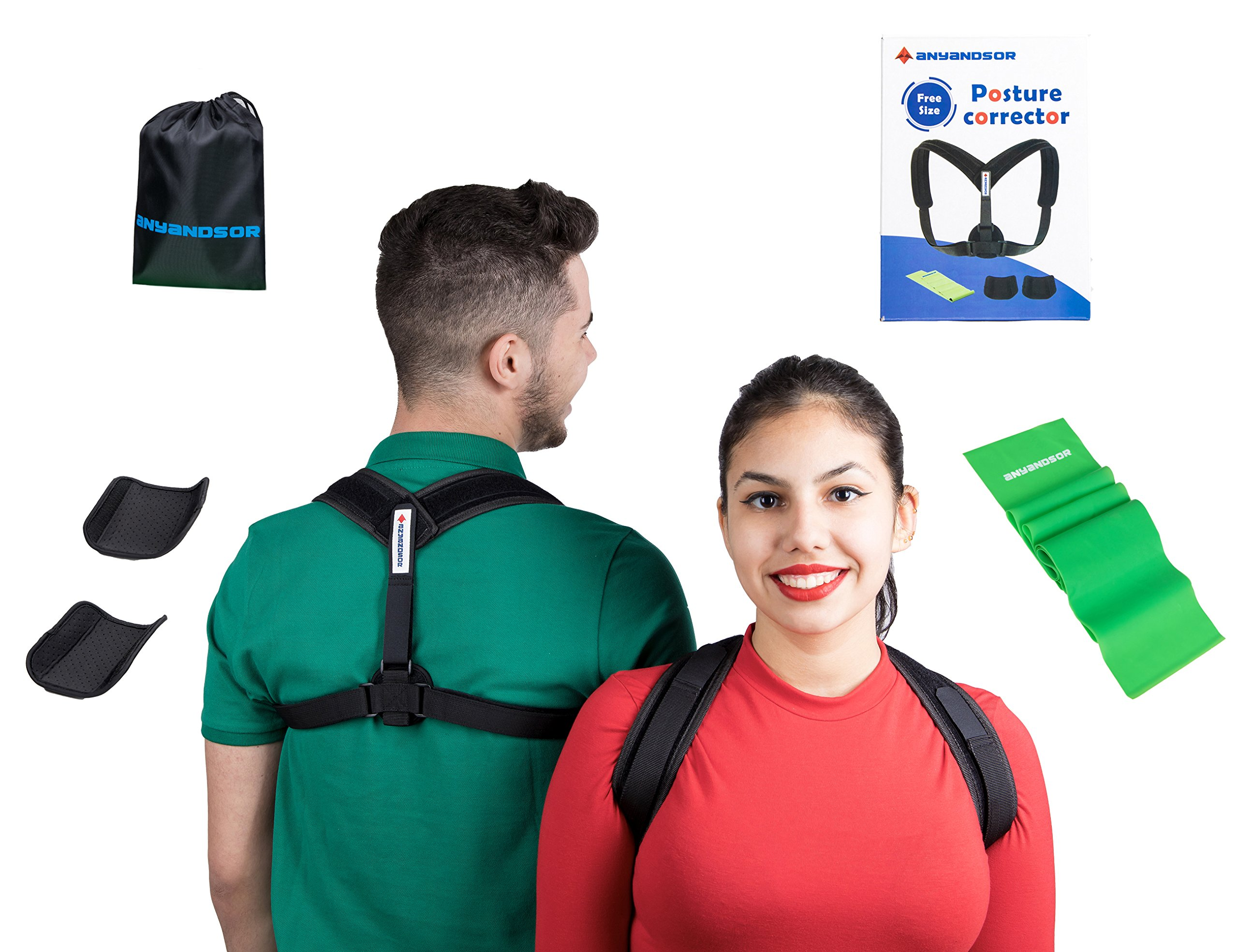 Posture Corrector with Armpit Pads by Anyandsor | Comfortable Posture Braces for Women and Men with Resistance Band & Carry Bag Bonus in a Gift-Box | Back Straightener for Injury Rehab, slouching