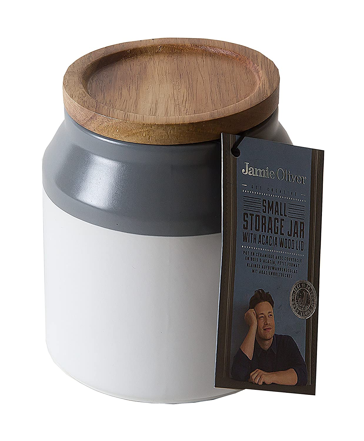 Jamie Oliver Food Storage Jar With Wooden Lid, Small Ceramic Kitchen  Container, Gray JB1110