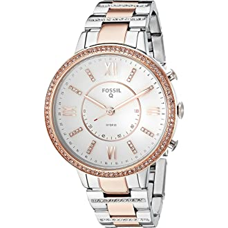 #10 Fossil Q Womens Virginia Two-Tone Stainless Steel Hybrid Smartwatch, Color: Rose Gold