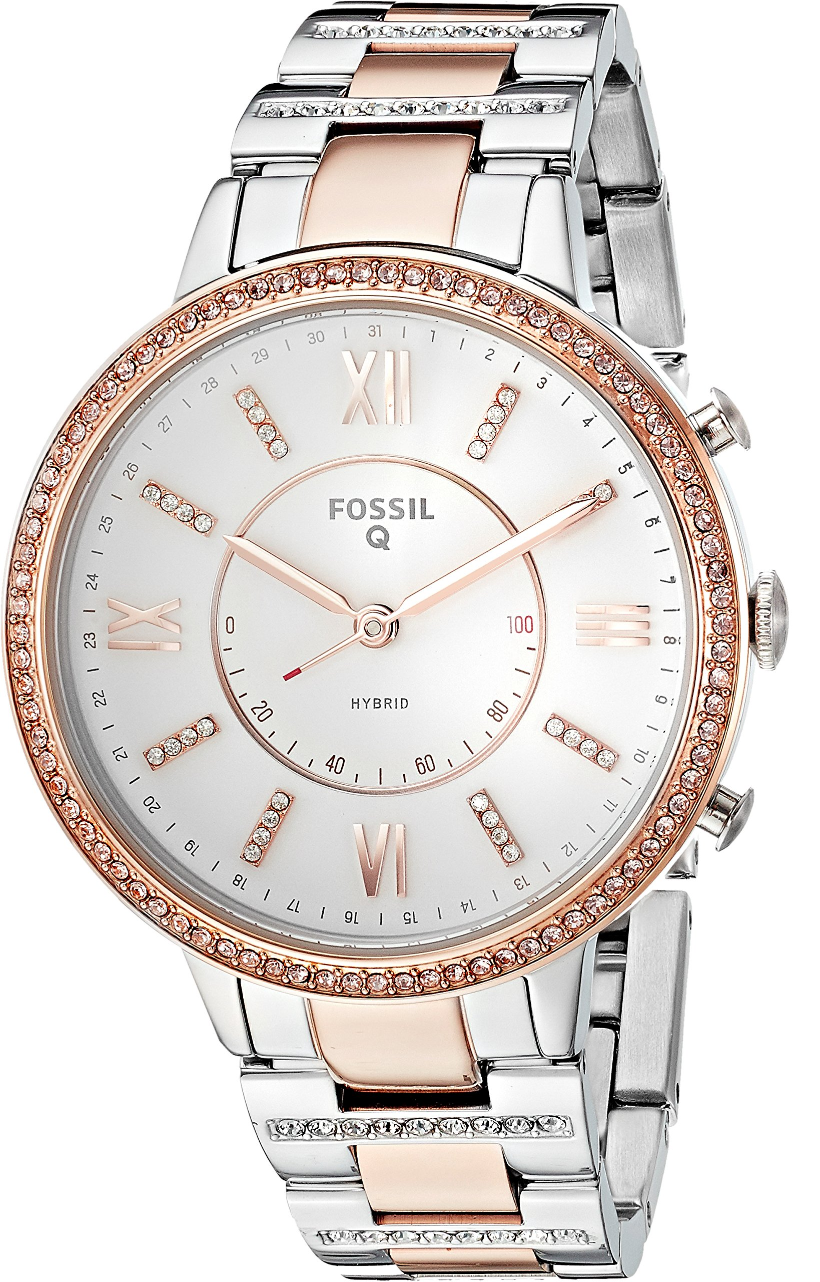 Fossil Q Women's Virginia Two-Tone Stainless Steel Hybrid Smartwatch, Color: Rose Gold-Tone, Silver-Tone (Model: FTW5011) by Fossil