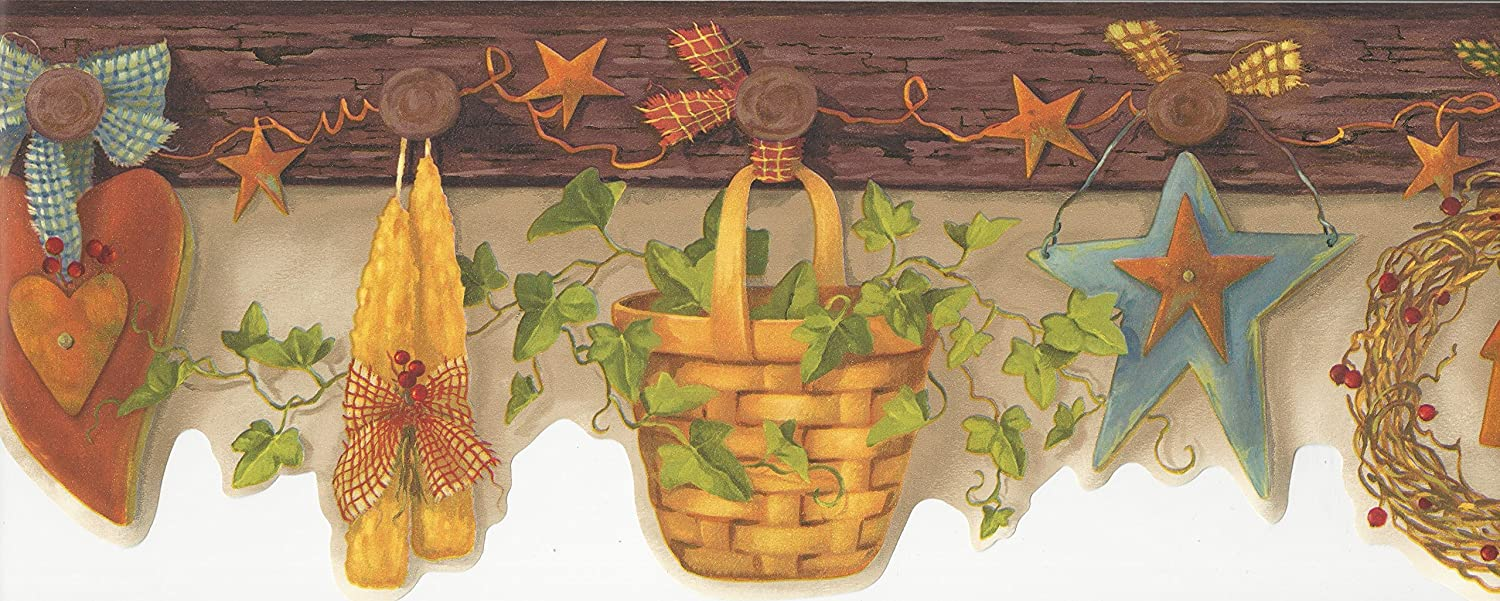 Wallpaper Border Country Stars Wreaths Hearts Stars Baskets on Wood Pegs Ivy with Die Cut Bottom Edge