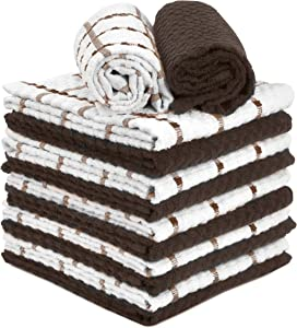 """TALVANIA Brown Kitchen Dish Towels 100% Cotton Dobby Weave Terry Towel Set, 12 Pack Absorbent Multipurpose Dish Cloth for Hand and All Kitchen Cleaning 15"""" X 25"""" Machine Washable (Coffee bean & White)"""