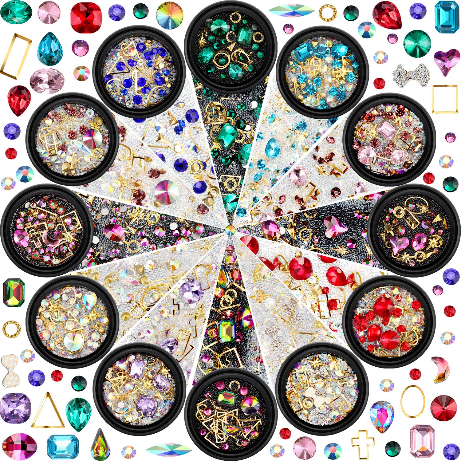 12 Boxes Nail Art Rhinestones Diamonds Beads Mixed Size Flat Back Crystal Rhinestones for DIY Crafting Jewelry Makeup 3D Decorations, 12 Styles (Style A) by Blulu