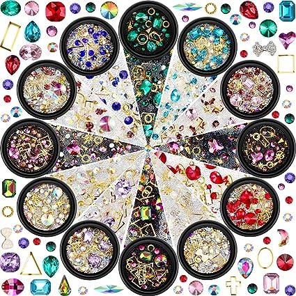 12 Cajas de Diamantes de Arte de Uñas Cristales de Espalda Plana ...