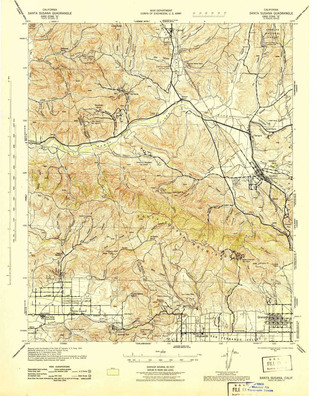 YellowMaps Santa Susana CA topo map, 1:62500 Scale, 15 X 15 Minute, Historical, 1943, Updated 1943, 21.7 x 17.3 in - Tyvek by YellowMaps
