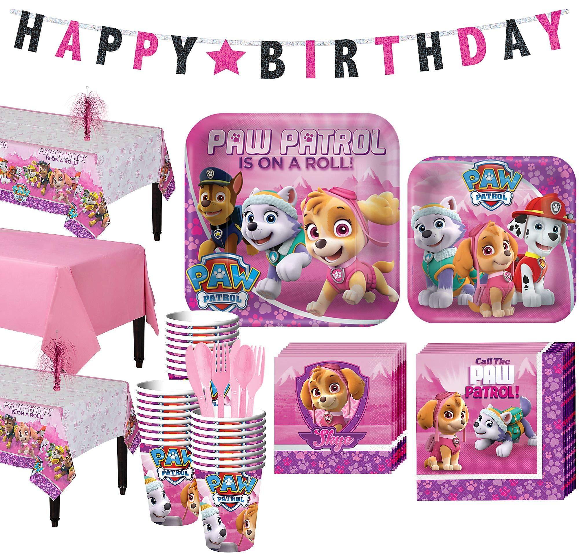 Party City Pink PAW Patrol Tableware Party Supplies for 24 Guests, Include Plates, Napkins, Utensils, a Banner, and More