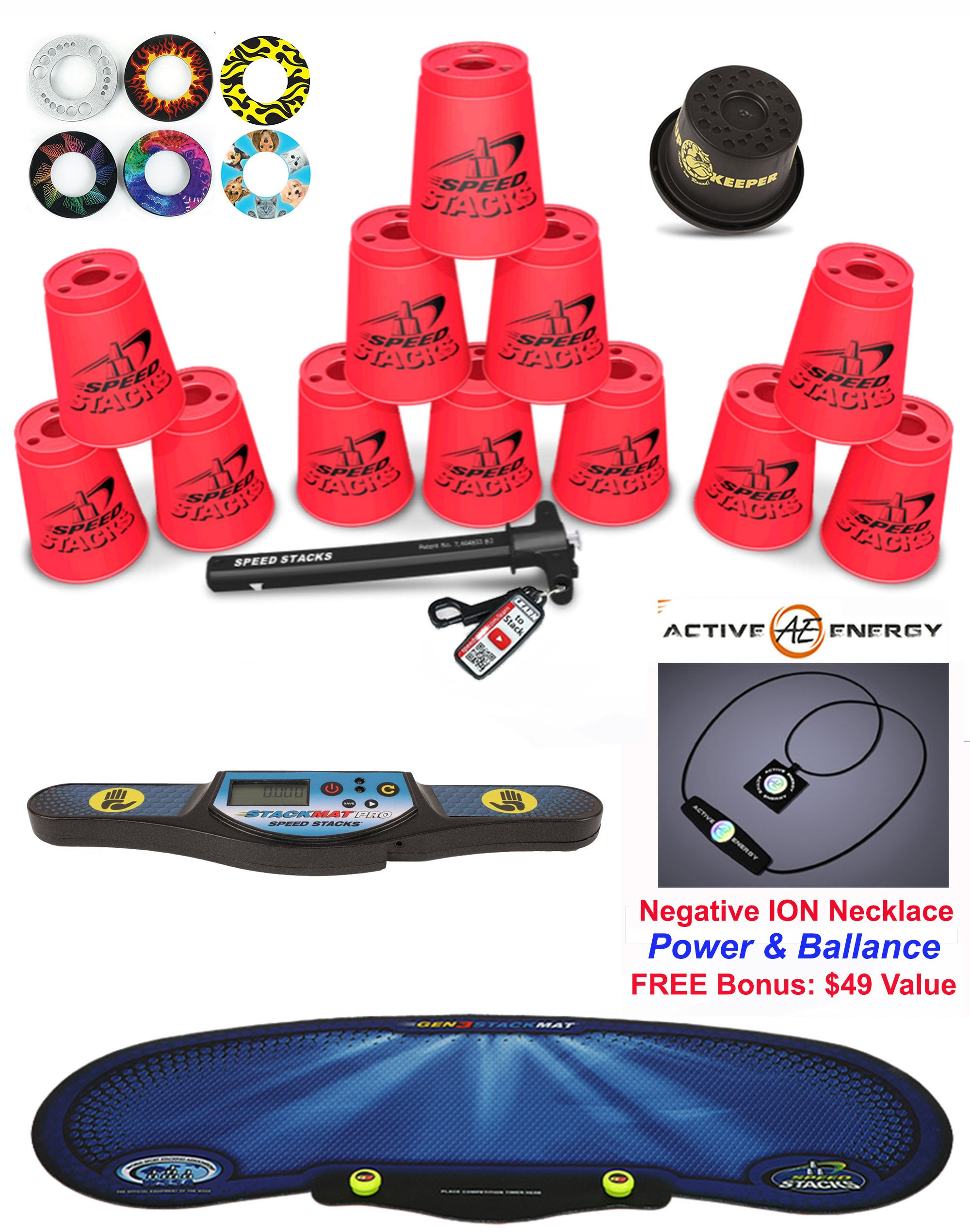 Speed Stacks Custom Combo Set: 12 PINK Cups, Cup Keeper, Quick Release Stem, Pro Timer, Gen3 Mat, 6 Snap Tops + FREE Bonus: Active Energy Power & Balance Necklace $49 Value