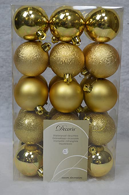 new style 5e431 28677 Decoris 30 Christmas Tree Baubles Decorations 60MM - Gold 340708 by Decoris
