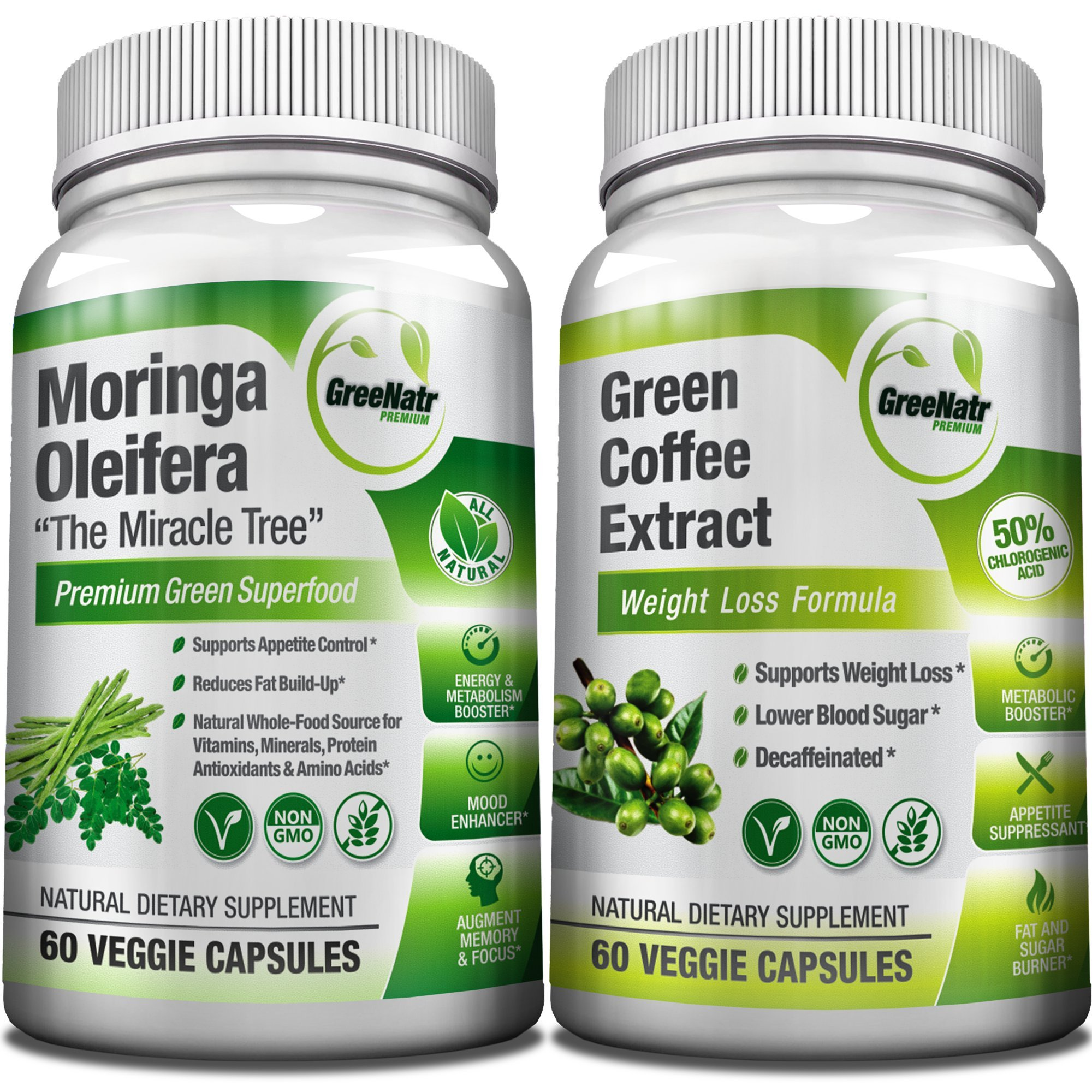 Moringa Oleifera + Green Coffee Bean Extract- Weight Loss, Healthy Heart and Blood Sugar Support Bundle - 120 Count
