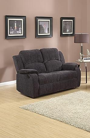 SC Furniture Ltd Grey/Black Reclining Fabric Material 2 Seater Sofa  Recliner Armchair Suite DORSET