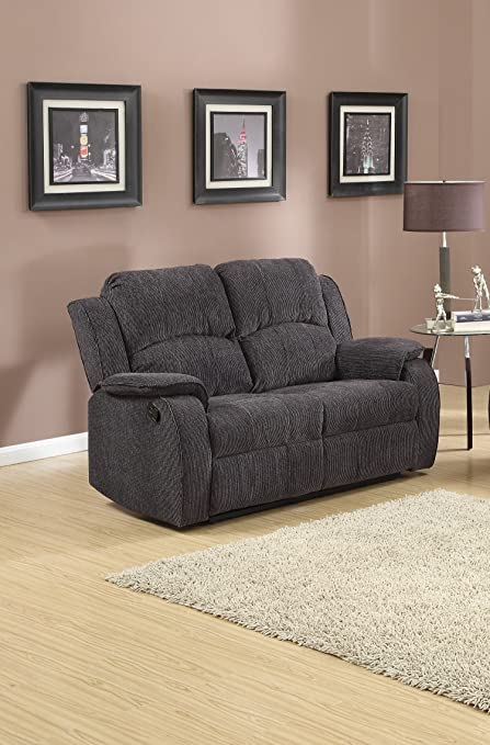 Grey / Black Reclining Fabric Material 2 Seater Sofa Recliner Armchair  Suite DORSET (Two Seats