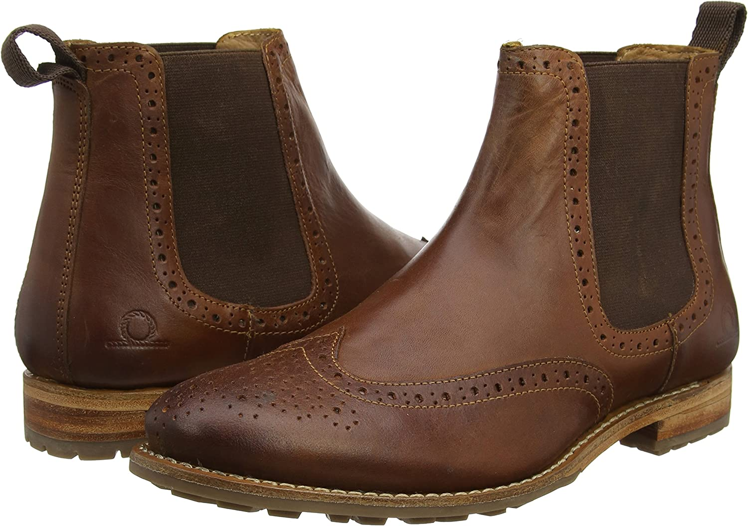 Chatham DUDLEY II Mens Leather Memory Foam Slip On Brogue Chelsea Boots Black