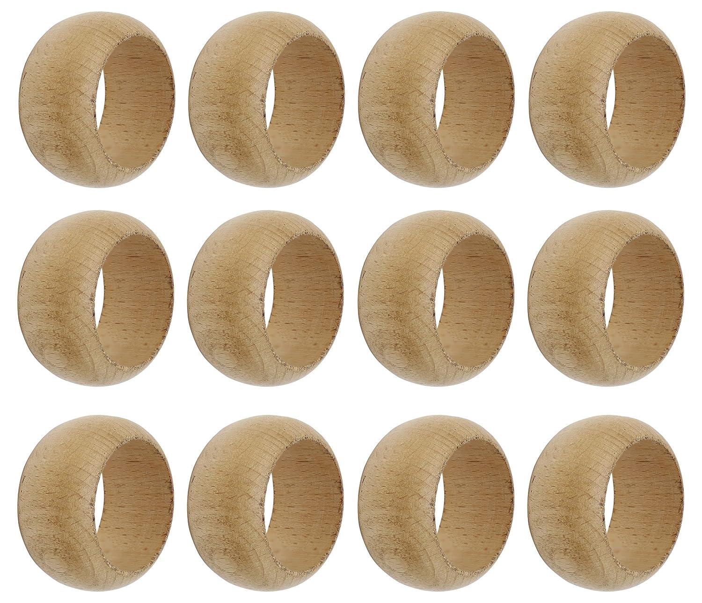 SKAVIJ Napkin Rings Set of 6 Brown for Wedding Banquet Table Dinner Decor Favor Natuaral Wood M-SNR-017-6