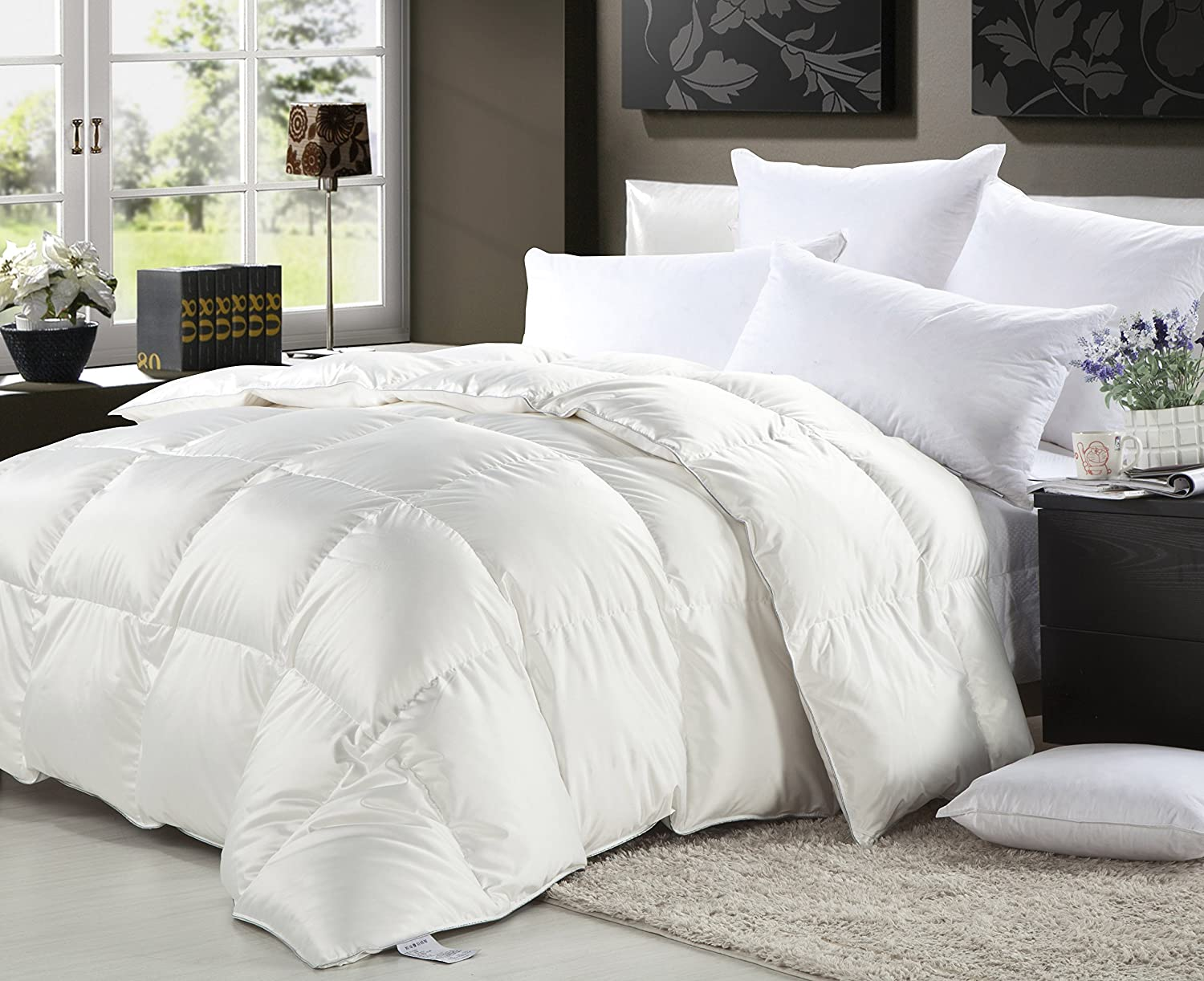 1000 Thread Count 100% Egyptian Cotton, FULL / QUEEN Size Baffle Box Design Medium Weight GOOSE DOWN Comforter, All Year, White Solid, 750 FP, 50 oz