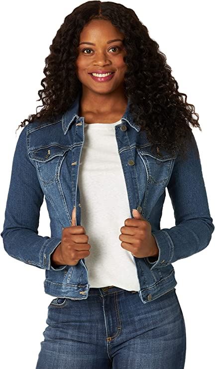 Riders by Lee Indigo Women's Blue Denim Jacket | Stylish fitted denim jacket for fall | Blue Cropped jean jacket