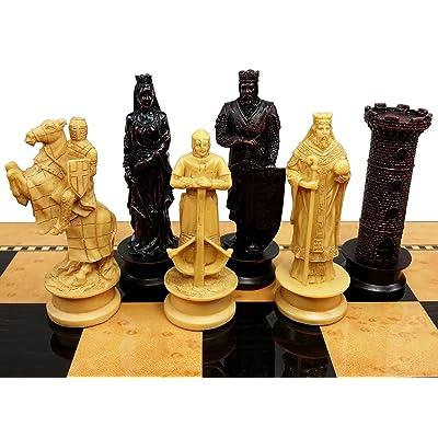 HPL Medieval Times Crusades King Richard Lionheart Knight Chess Men Set Antique Color- NO Board: Toys & Games [5Bkhe1104218]