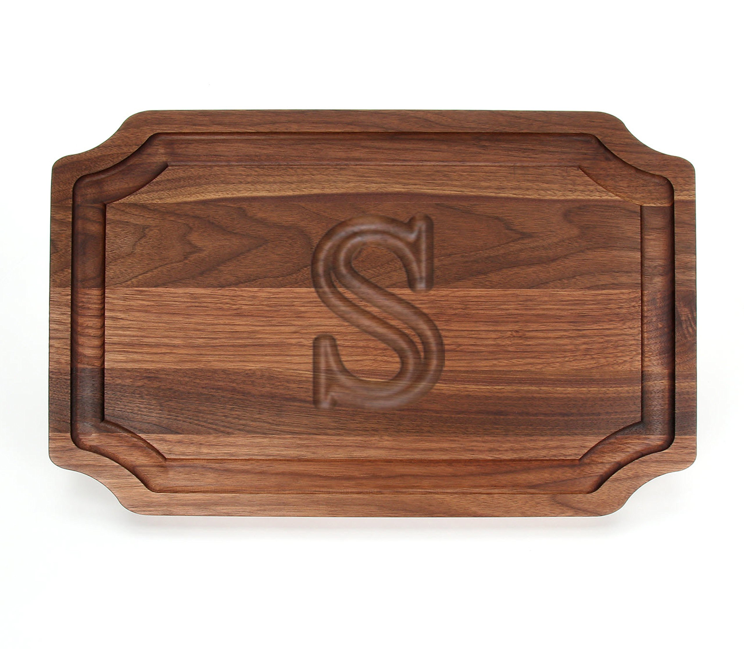 BigWood Boards W320-S Carving Board, Carving Board with Juice Well, Large Personalized Cutting Board with Juice Groove, Walnut Serving Platter, ''S'' by BigWood Boards
