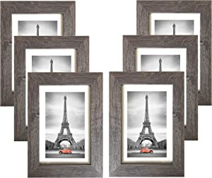 Art Emotion Rustic Oak Style Picture Frame, 2MM Reinforced Glass (Dark Oak, 5x7 with 4x6 Opening), Hangers and Easel Included for Wall or Tabletop, Horizontal or Vertical Display, Pack of 6