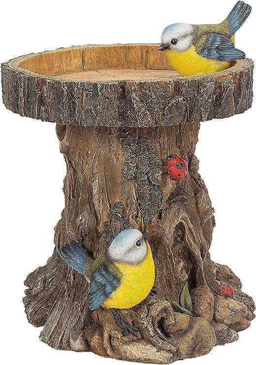Bronzed Blue Tit on Tree Stump Resin Bird Ornament LP29626