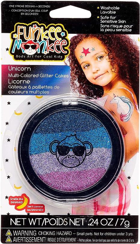 Amazon Com Funkee Munkee Multi Cakes Unicorn Banana Scented Body Glitter For Kids 4 Colors Face Paint