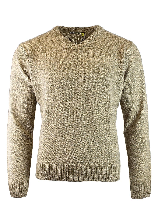 JackSmith Men's Shetland Wool V-Neck Cardigan Sweater Ragg Knitted ...