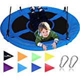 "Giant 40"" Saucer Tree Swing in Elite Blue - 400 lb Weight Capacity - Durable Steel Frame, Waterproof - Adjustable Ropes - Easy to Install - Bonus Flag Set and 2 Carabiners - Non-Stop Fun for Kids!"
