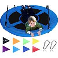 """Royal Oak Giant 40"""" Saucer Tree Swing with Bonus Carabiners and Flags, 700 lb Weight Capacity, Steel Frame, Waterproof, Easy to Install with Step by Step Instructions, Non-Stop Fun! (Blue)"""