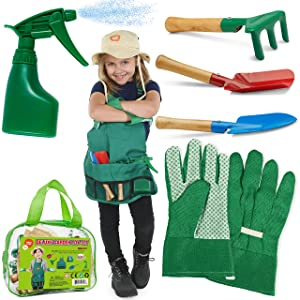 Kids Gardening Set, Rake and Garden Tools, Kids Gardening Gloves and Washable Apron Set for Real or Sand Gardening and Dress up Clothes or Role Play