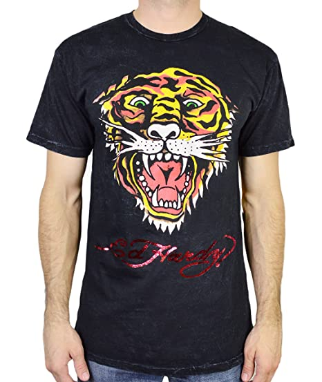 Ed Hardy Men's T Shirt Tiger, Burgundy Mineral, XXX-Large