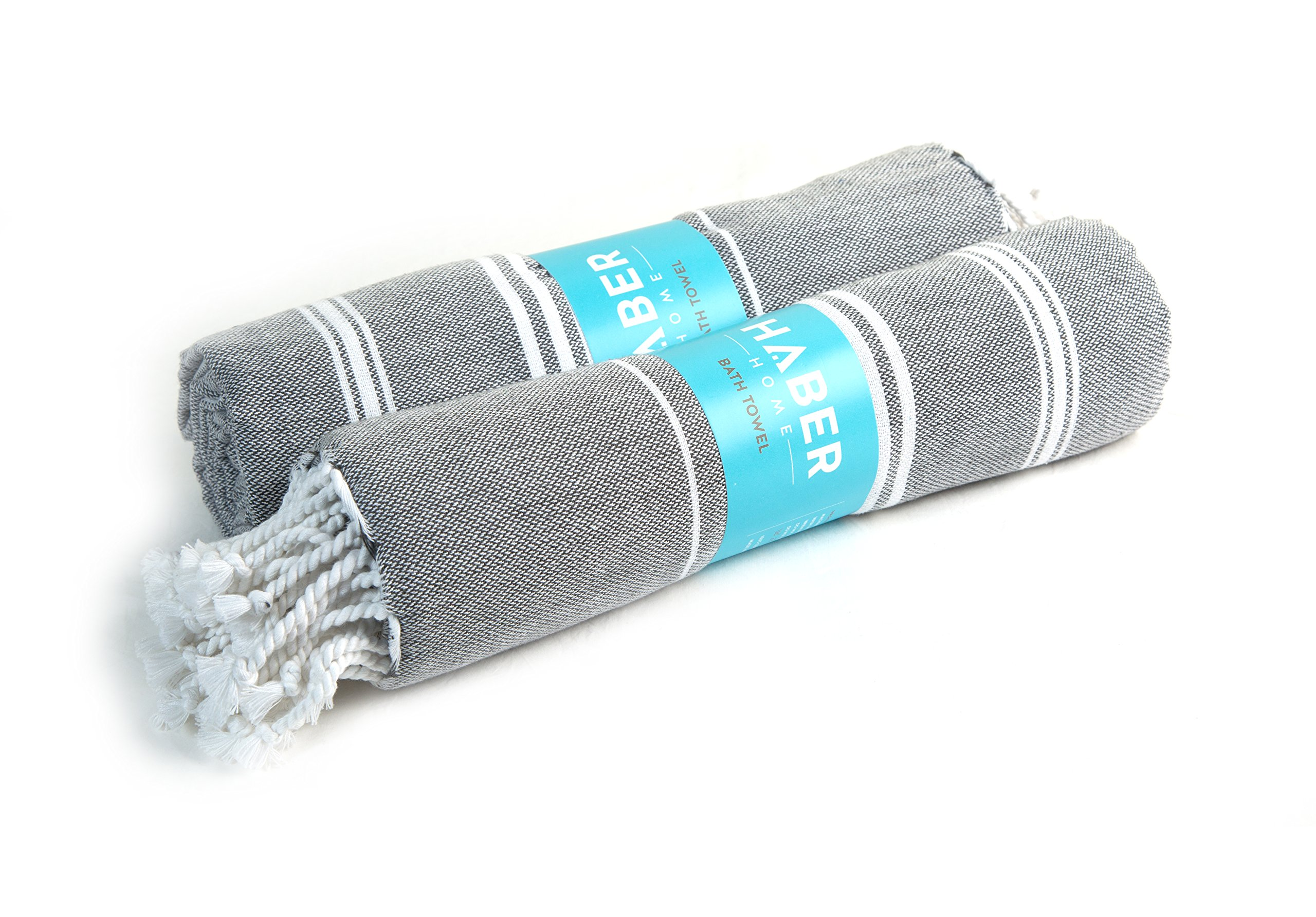 HABER Turkish Cotton Towels - Pack of 2, Luxury Bath Unisex Towels, Quick Dry Medium Size Soft Towel for Gym, Yoga, Travel & Camping 30'' X 60'' (Grey & Grey)