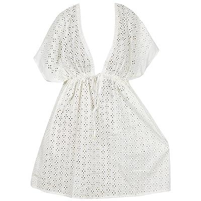*La Leela* maillots de bain couvre la plage des femmes de coton maillot de bain bikini en blanc uni chemisier