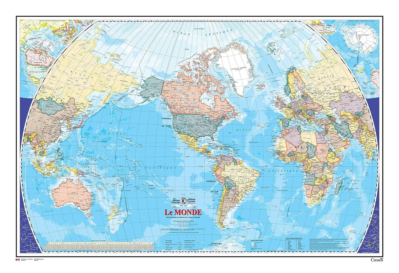 Le monde - Carte Murale - L'Atlas du Canada - 48.75 x 32.5 Laminated Wall Map MapSherpa