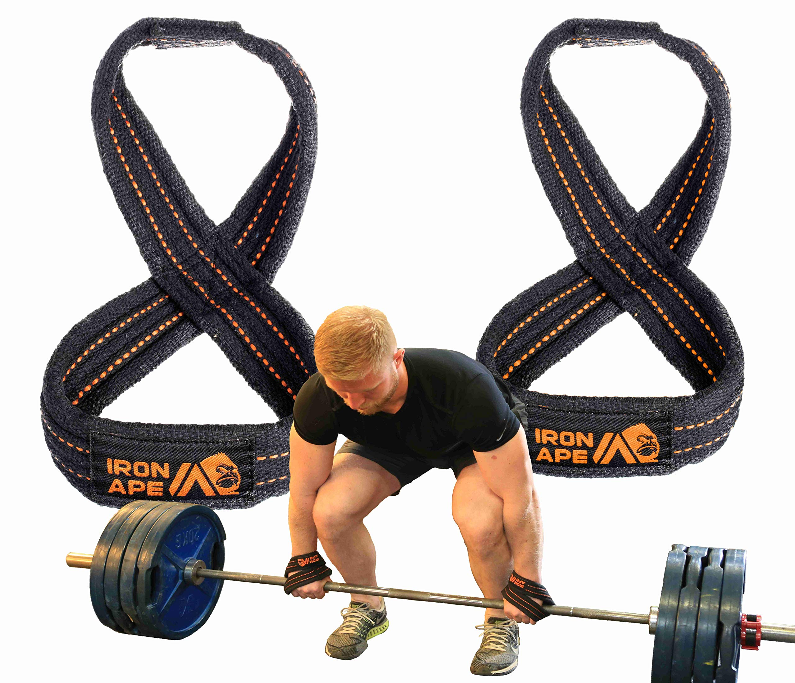 IRON APE Figure 8 Straps for Deadlift, Weight Lifting, Shrugs, and Weightlifting. Heavy Duty Cotton, 4 Sizes (XL)