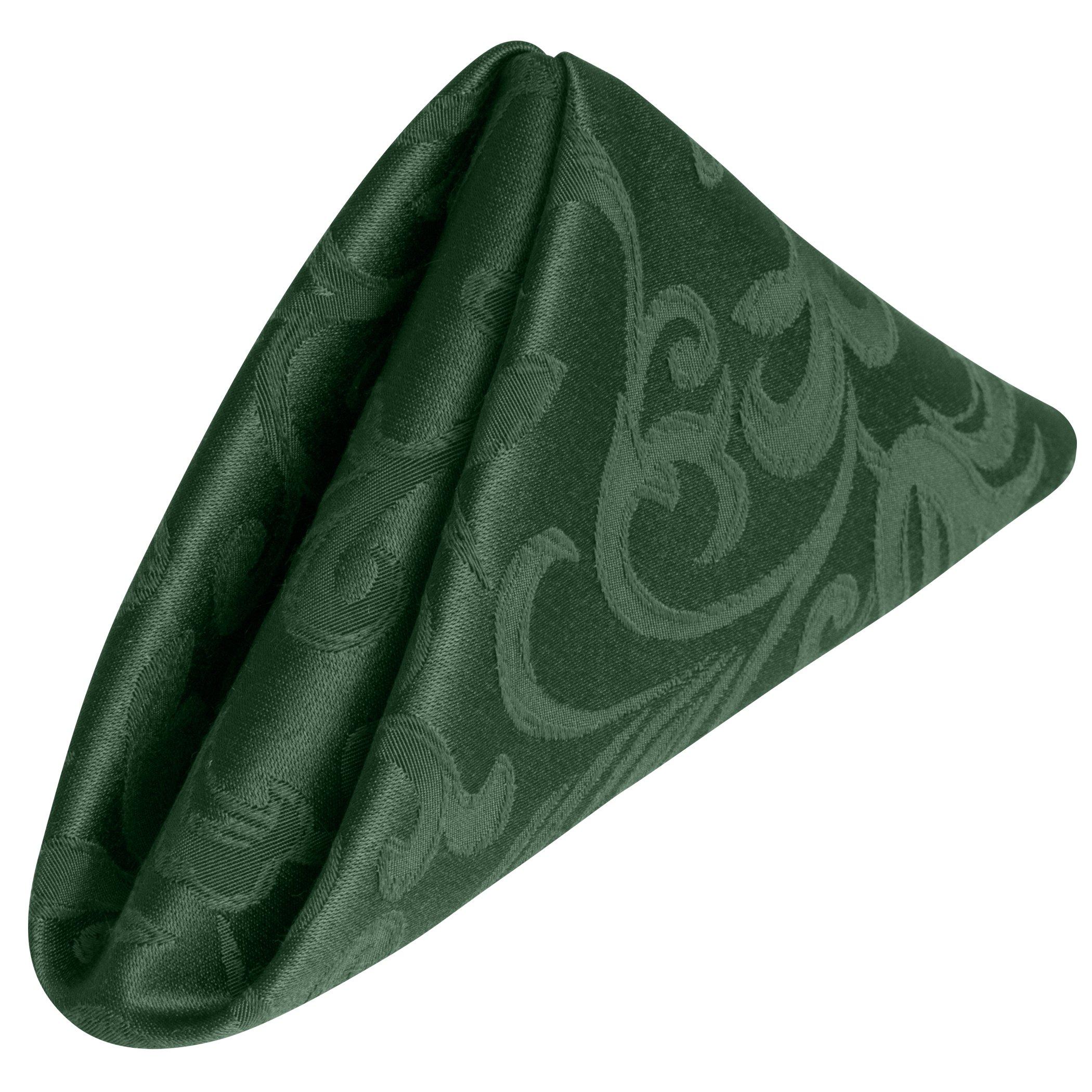 Ultimate Textile (10 Dozen) Somerset 17 x 17-Inch Damask Cloth Napkins- Jacquard Weave Scroll Design, Hunter Green