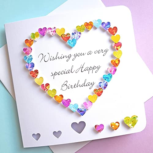 Handmade 3d Birthday Card Multi Coloured Heart Special Friend